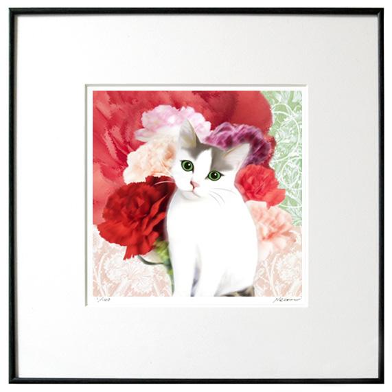 猫夢アート版画 「カーネーション」【サバ白】【猫アート】【額 版画】