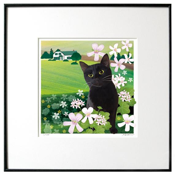 猫夢アート版画 「アップルゼラニウム」黒猫【猫アート】【額 版画】【送料無料】