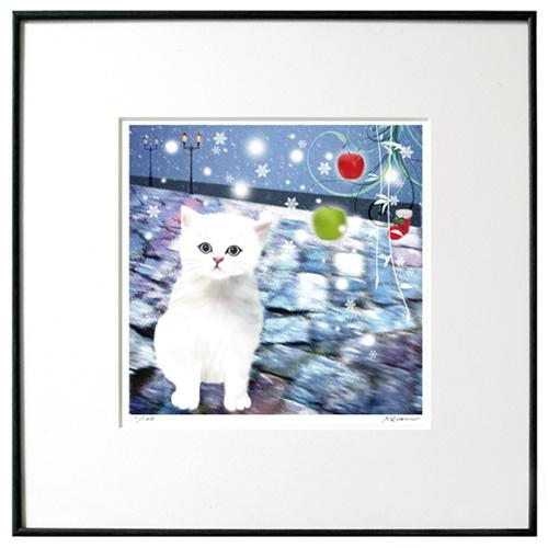 猫夢アート版画「銀座の雨」白ペルシャ長毛【猫アート】【額 版画】【送料無料】