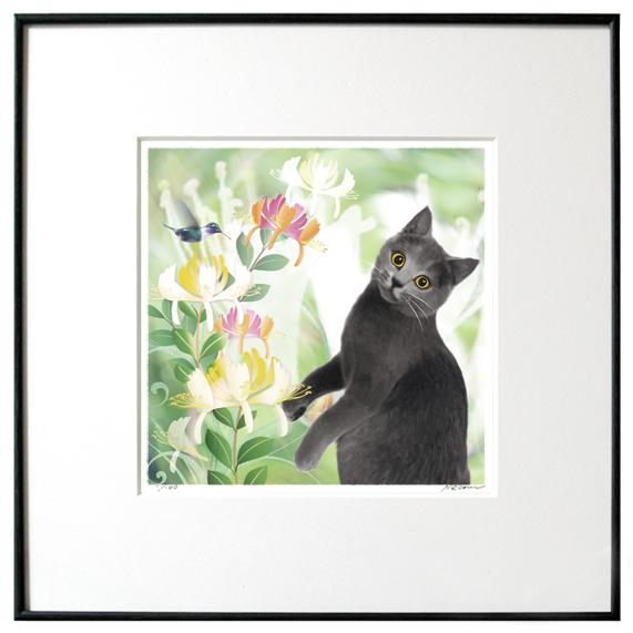猫夢アート版画「スイカズラ」ロシアンブルー【猫アート】【額 版画】【送料無料】