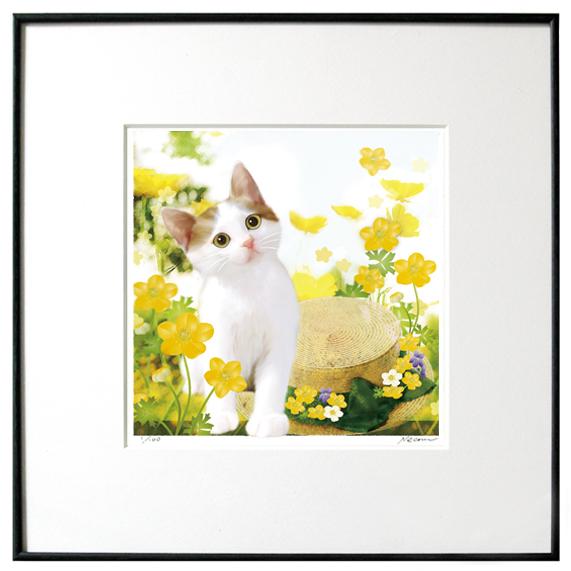 猫夢アート版画 「キンポウゲ」キジ白【猫アート】【額 版画】【送料無料】
