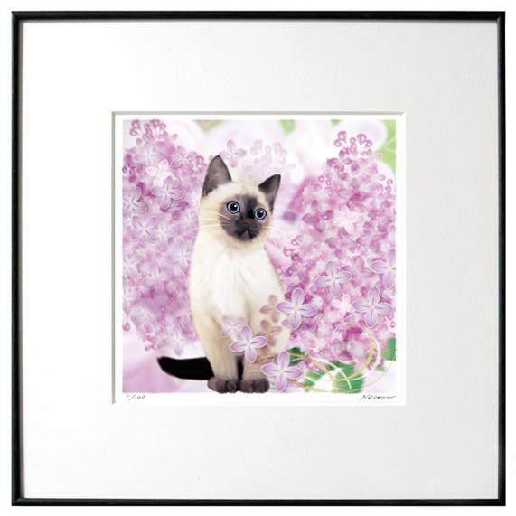 猫夢アート版画 「ライラック」シャム猫【猫アート】【額 版画】【送料無料】