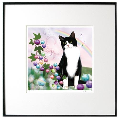 猫夢アート版画 「野葡萄(めくらぶどう)」白黒猫【猫アート】【額 版画】【送料無料】