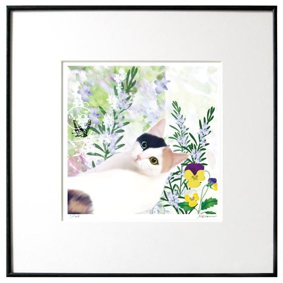 猫夢アート版画 「ローズマリー」ミケ ブチ【猫アート】【額 版画】【送料無料】