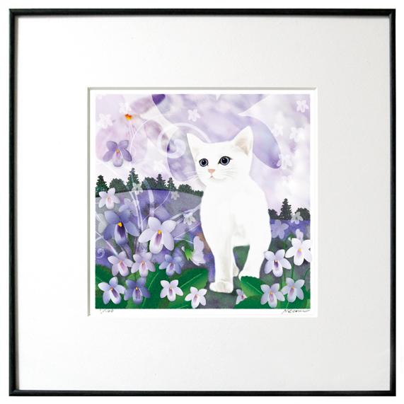 猫夢アート版画 「スミレ」白猫【猫アート】【額 版画】【送料無料】