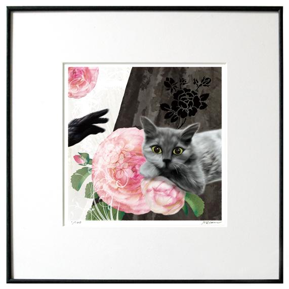 猫夢アート版画 「薔薇」(冬物語)コラット 黒猫【猫アート】【額 版画】【送料無料】