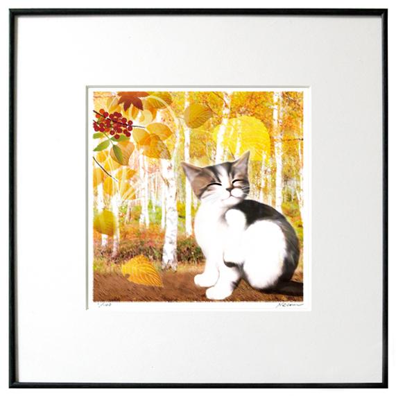 猫夢アート版画 「白樺」キジ白【猫アート】【額 版画】【送料無料】