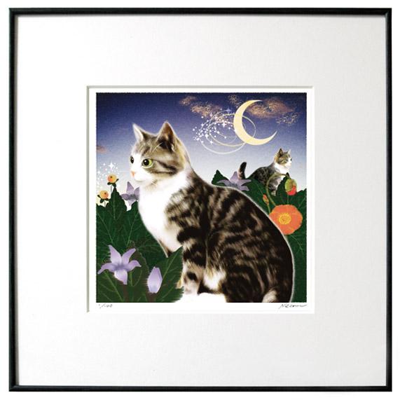 猫夢アート版画 「マンドラゴラ」サバ白猫 【猫アート】【額 版画】【送料無料】