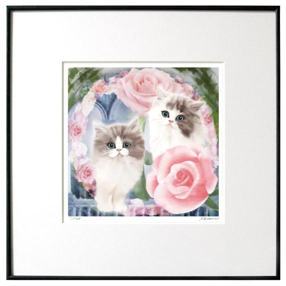 猫夢アート版画 「薔薇」(ロメオとジュリエット)ペルシャ長毛【猫アート】【額 版画】【送料無料】