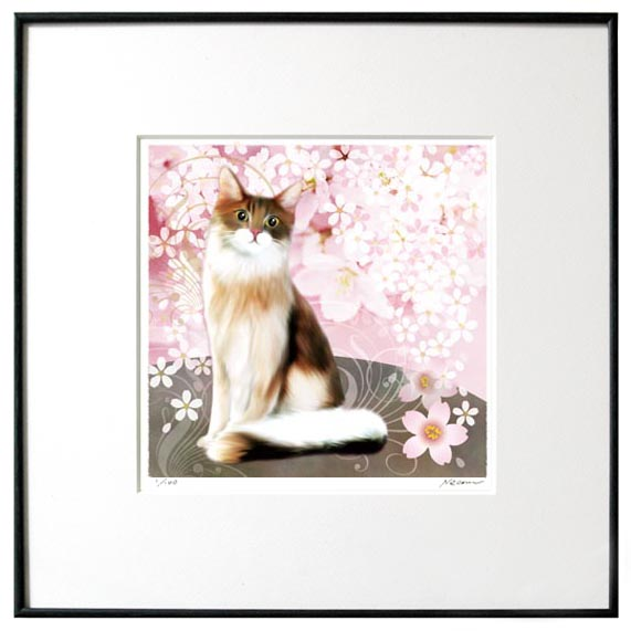 猫夢アート版画 「桜と猫2」メインクーン長毛【猫アート】【額 版画】【送料無料】
