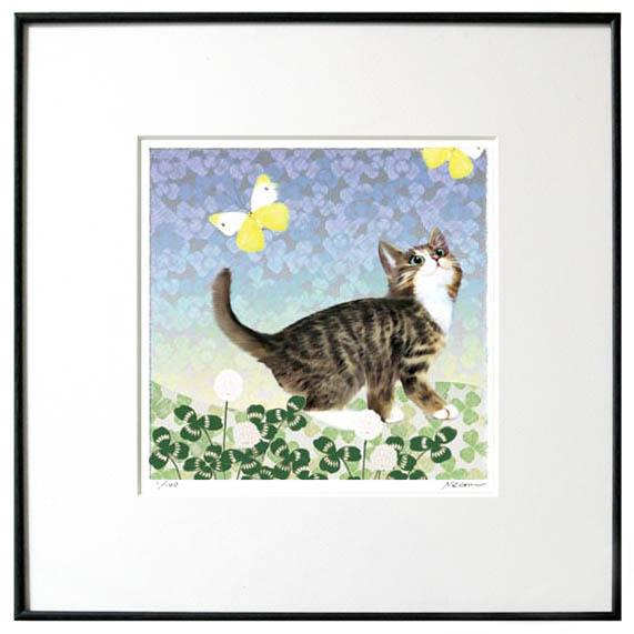 猫夢アート版画花と猫シリーズ 「クローバー猫」キジトラ【猫アート】【額 版画】【送料無料】