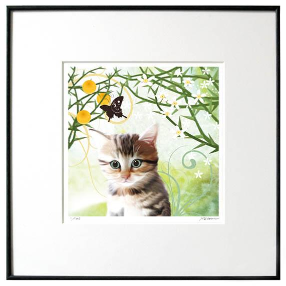 猫夢アート版画 「からたちの花」キジトラ【猫アート】【額 版画】【送料無料】