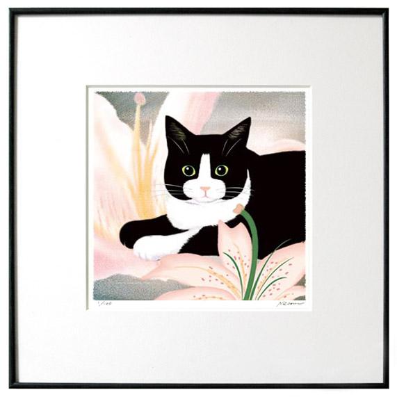 猫夢アート版画花と猫シリーズ 「百合猫」白黒ハチワレ【猫アート】【額 版画】【送料無料】