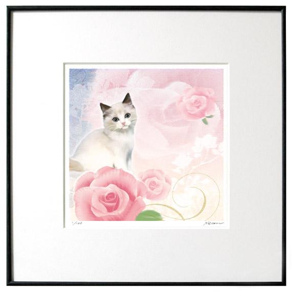 猫夢アート版画 「薔薇2」ラグドール【猫アート】【額 版画】【送料無料】