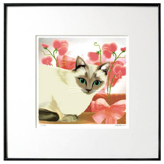 猫夢アート版画花と猫シリーズ 「スイートピー猫」シャム猫【猫アート】【額 版画】【送料無料】