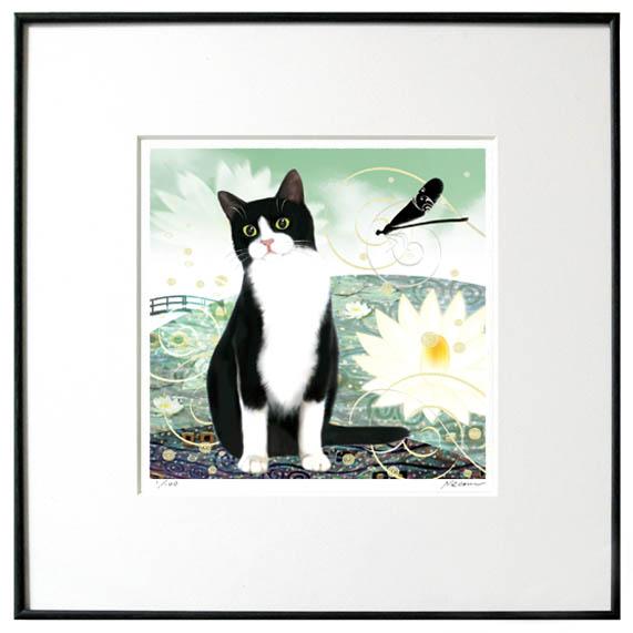 猫夢アート版画 「睡蓮」スイレン白黒ハチワレ猫【猫アート】【額 版画】【送料無料】