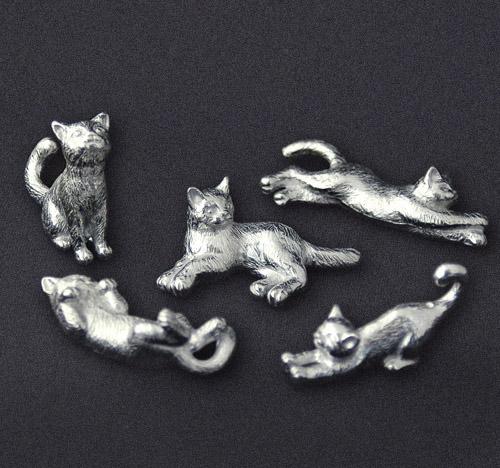 可愛いポーズの猫の箸置き5個セット 猫モチーフ お得セット ハンドメイド錫 猫の箸置き 5ポーズセット 猫グッズ 雑貨 錫 正規店 箸置き 猫雑貨 プレゼント