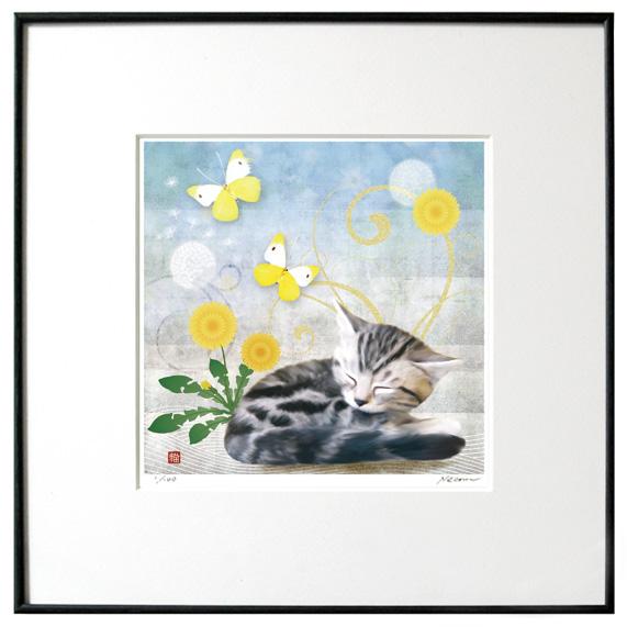 猫夢アート版画 「蒲公英」たんぽぽアメショー【猫アート】【額 版画】【送料無料】