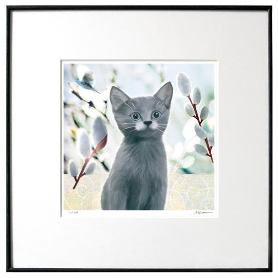 猫夢アート版画イーハトーヴシリーズ 「ねこやなぎ」グレイ猫【猫アート】【額 版画】【送料無料】