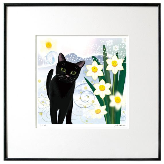 猫夢アート版画イーハトーヴシリーズ 「水仙月」黒猫【猫アート】【額 版画】【送料無料】