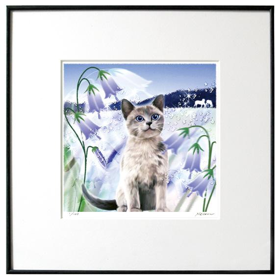 猫夢アート版画イーハトーヴシリーズ 「つりがねそう(釣鐘草)」【猫アート】【額 版画】【送料無料】