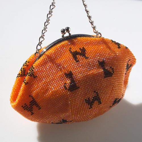 猫柄 ビーズ編みポーチ(オレンジ)【ハンドメイド】