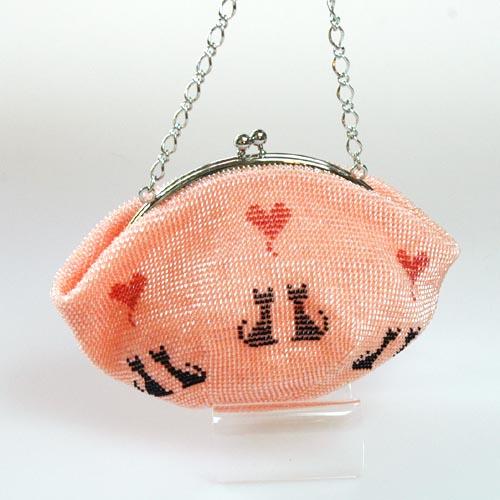 猫柄 ビーズ編みポーチ(ピンク)【ハンドメイド】