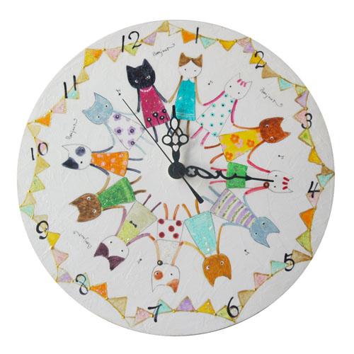 癒しペイント高田ひろこ お姉さん猫の掛け時計