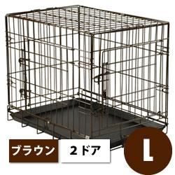 犬 ケージ 折り畳みできるペットケージ<2ドアタイプ> Lサイズ【中型犬用】【全国送料無料】