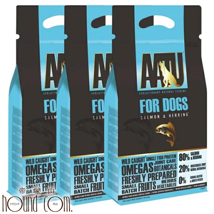 AATU(アートゥー) サーモン ドッグフード 1.5kg 3袋セット グルコサミン コンドロイチン 乳酸菌配合【わんこ ごはん ドッグフード ドックフード ペットフード 犬のフード 犬用品 犬の餌 犬のえさ ペット用品】