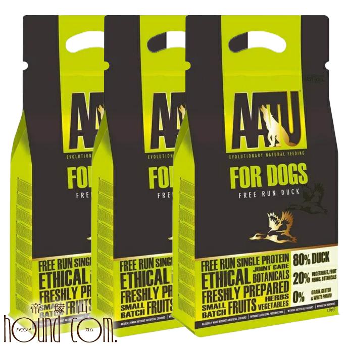AATU(アートゥー) ダック ドッグフード 1.5kg 3袋セット 穀物不使用 グレインフリー グルコサミン コンドロイチン配合