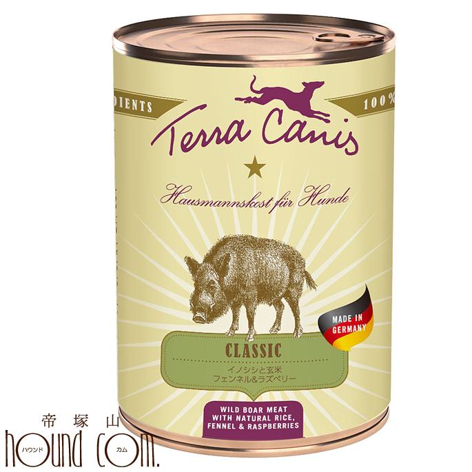 テラカニス クラシック イノシシ 玄米入り400g12缶セット 犬用缶詰 ドッグフード ウェットフード 無添加 イノシシと玄米 フェンネル&ラズベリー 送料無料 おまけつき 主食 手作り食 トッピング 水分補給