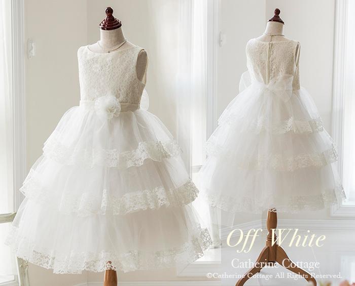 5529a59f74ff9 お花レースと三段チュールフリルのふんわりプリンセスドレス オフホワイト キッズフォーマルと
