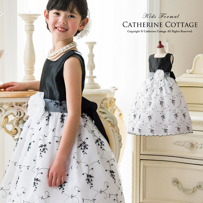 21c7335acd915 楽天市場 女の子用ドレス 子どもドレス 黒刺繍ドレス 子供服 キッズ ...