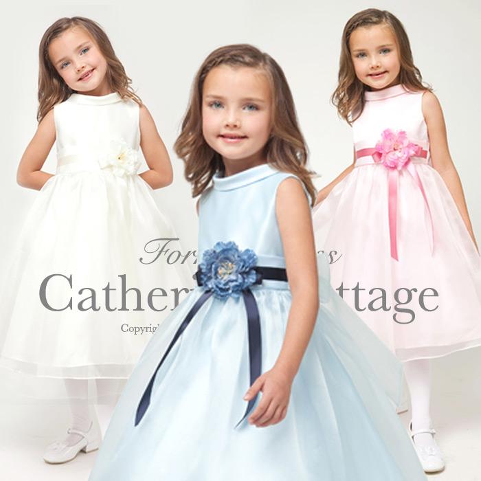 Kids Dress Children Dresses Ribbon Belt With Large Corsage Wedding S Piano Recital