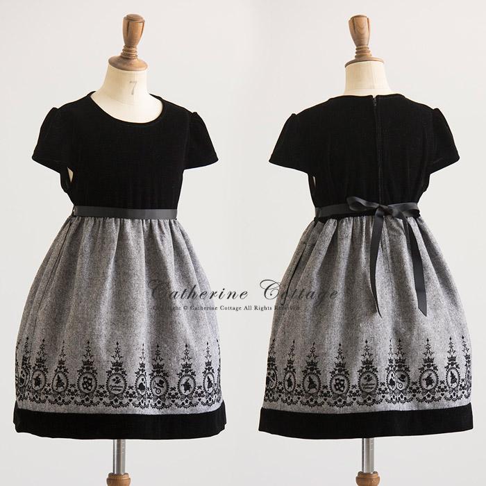 225e6a7402109 楽天市場 子供ドレス 発表会 女の子 アリスフロッキープリントのベロア ...