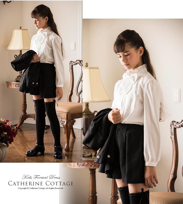 91d2274d96cb9 子供服女の子リボン付きフリル長袖ブラウス キッズフォーマル女児卒業式入学式