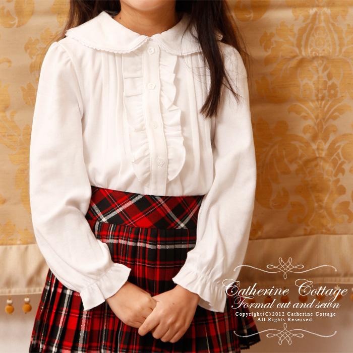 9d0ea85eb1430 丸襟フリルスムースカットソーブラウス ドレスやワンピースに合わせて♪ キッズ 子供 女の子 ガールズ