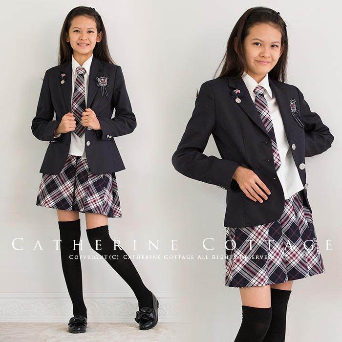 56acd9ab129 ジュニア女の子女児卒業式スーツガールズエンブレム付きチェックスーツ6点セットブラックタータン