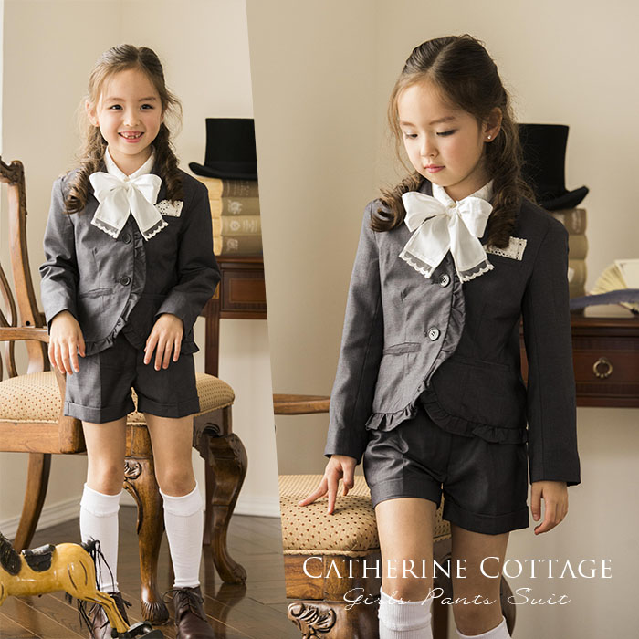 132c43c672ae3 カットワークフリルブラウス*サテンリボンニーハイソックス*バックリボンシューズ 女の子 入学式 スーツ 女の子 フォーマル スーツ