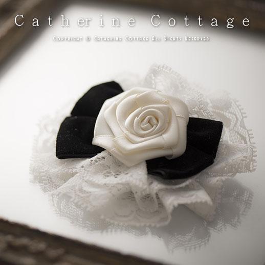 Catherine Cottage Children Dress White Rose Ribbon Hair Clips Kids