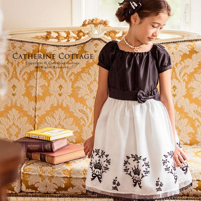 40205398b1f09 楽天市場 子供ドレス 王冠とリボンと薔薇のモノトーンフロッキー ...