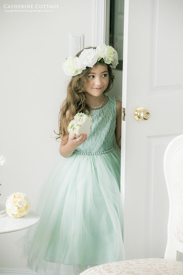 b7ac6f9ef575e 発表会ドレス子供ウエストビジューの洗練レースドレス 女の子110120130140150160cm白ミントグリーン