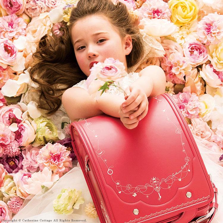 【予約品】日本製ランドセル 女の子 アリスランドセル in フラワーガーデン 送料無料2019年度モデル A4対応 赤 ピンク 茶色 水色 紫 刺繍 学習院型 キューブ型 クラリーノ[YKKS2] P6010