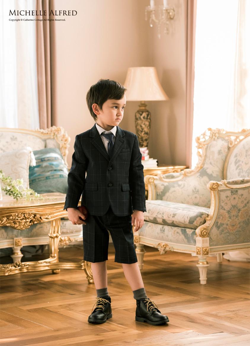 e283b6181e972 楽天市場 入学式 男の子 スーツ 5点セット キッズスーツ 男児チェック柄 ...
