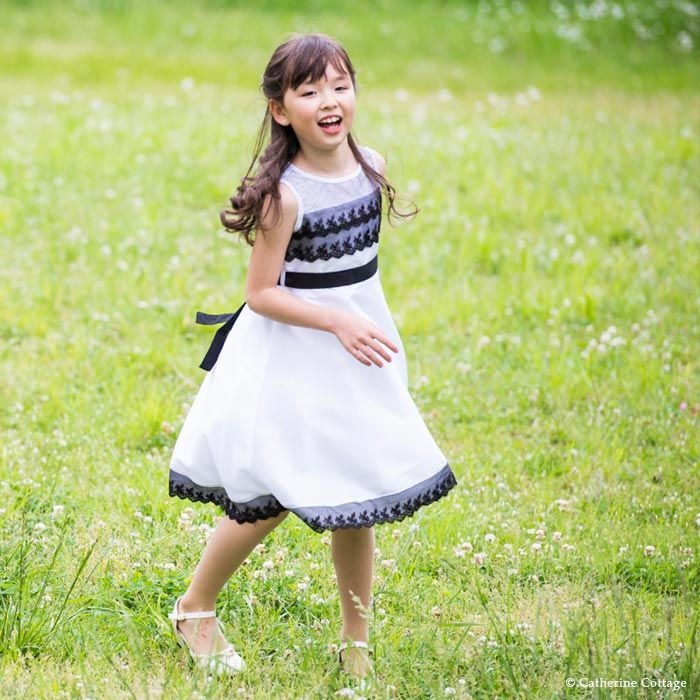 Catherine Cottage Kids Dress Up Girl Monotone Tulle Lace Dress