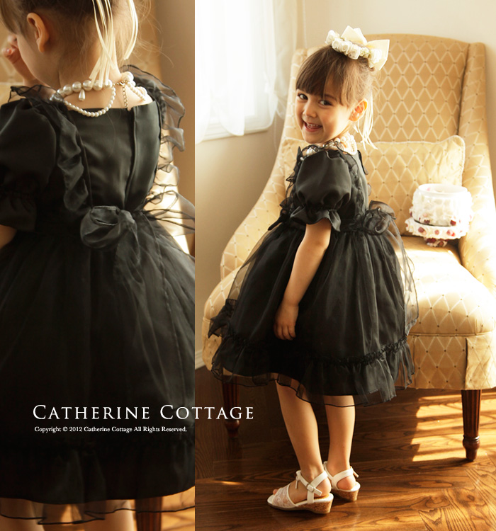 fc3086c55fa6c 楽天市場 子供ドレス女の子発表会ブラックオーガンディーリボンドレス ...