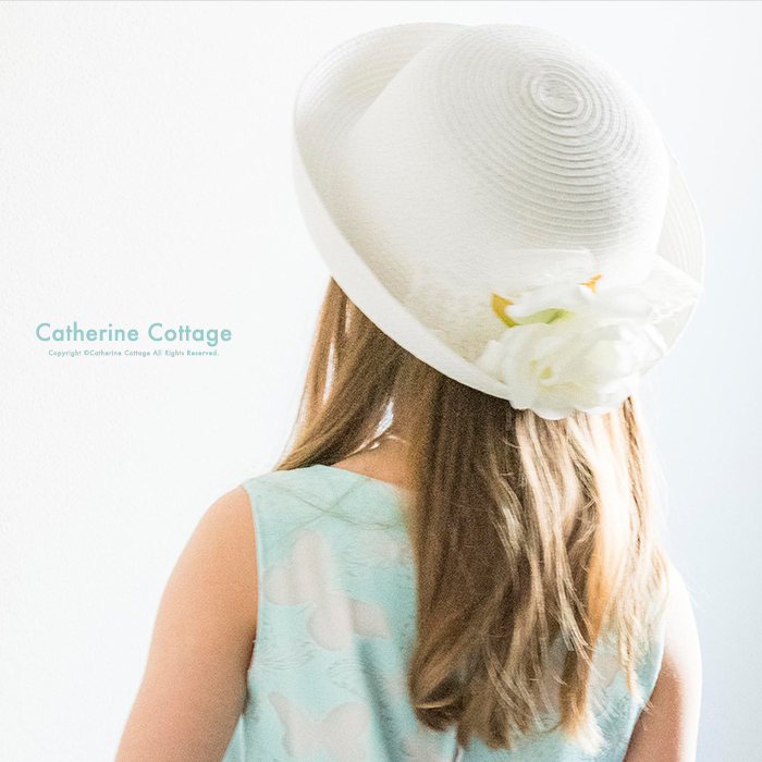 RJ002白 半額クーポン利用で1000円 在庫処分 女の子 白いお嬢様麦わら帽子TAK セール品