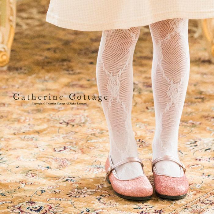 タイツ 子供 格子ローズ 女の子 ストッキング フォーマル 白 120 130 140 YUP4|キャサリンコテージ