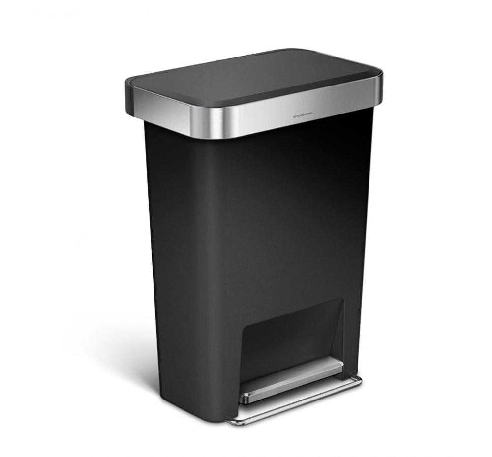 【送料無料】 simplehuman シンプルヒューマン CW1385 レクタンレギュラーステップダストボックス ライナーポケット付 45L(プラスティック) ブラック ゴミ箱 [メーカー直送のみ、代引き不可]【沖縄・北海道・離島は送料別途必要です】